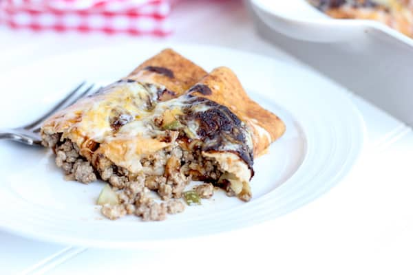 So easy and delicious. These cheeseburger enchiladas hit the spot!