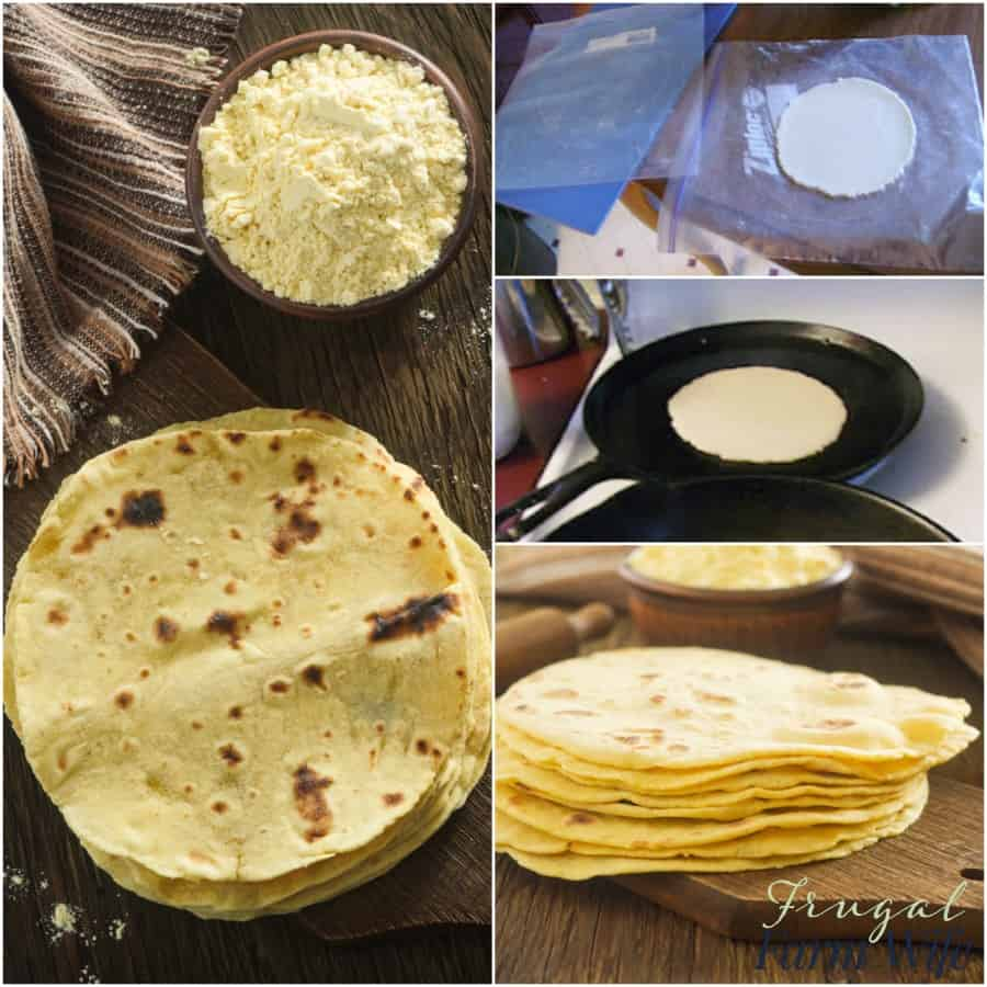 These homemade tortillas are perfect for folks on a budget because corn flower is really cheap and you don't need any fancy equipment.