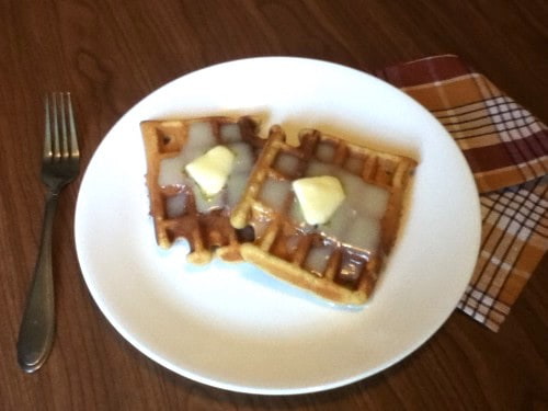gluten-free pumpkin waffles with cream cheese syrup