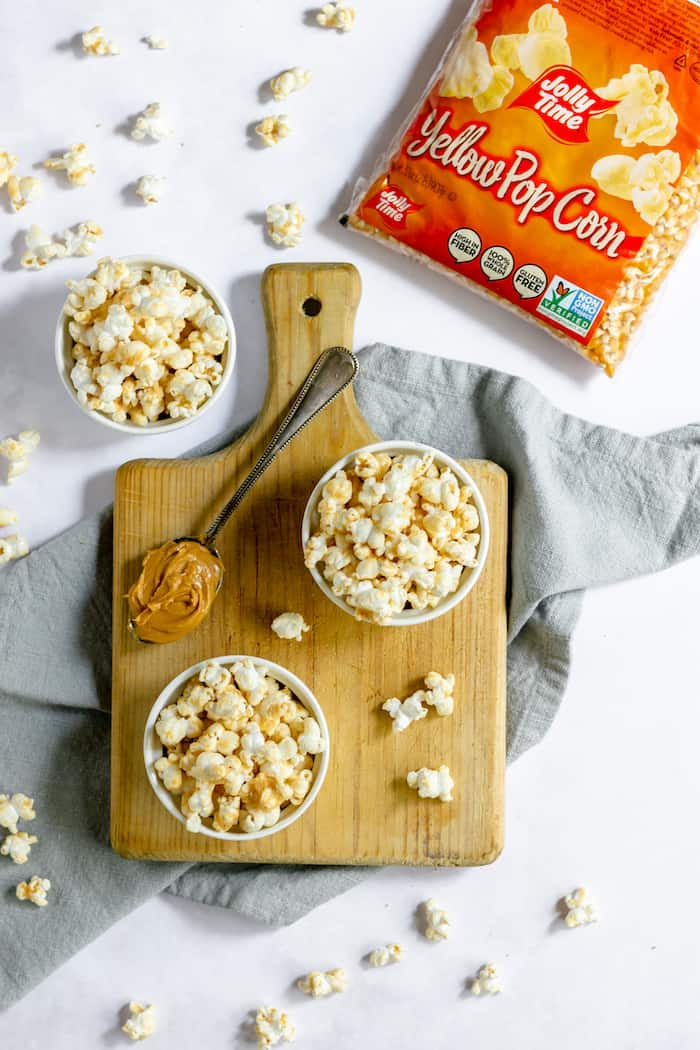 popcorn with peanut butter - this will be your family favorite easy snack!