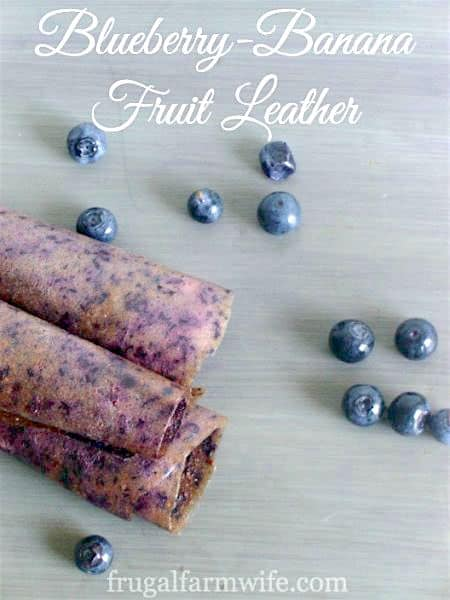This naturally sweet blueberry banana fruit leather is perfect for school lunches!