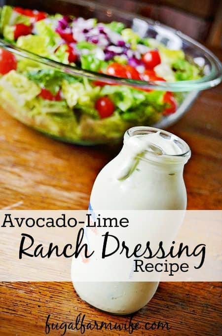 This avocado-lime ranch dressing uses yogurt and real lime and avocado which makes it so healthy!