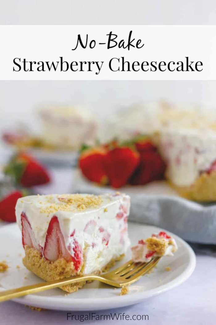 Strawberry no-bake cheesecake is the perfect easy dessert to cool off on a hot afternoon!