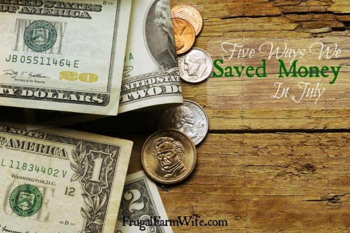 I love this bloggers list of 'ways we saved money in July'! I have to remember some of these ideas!
