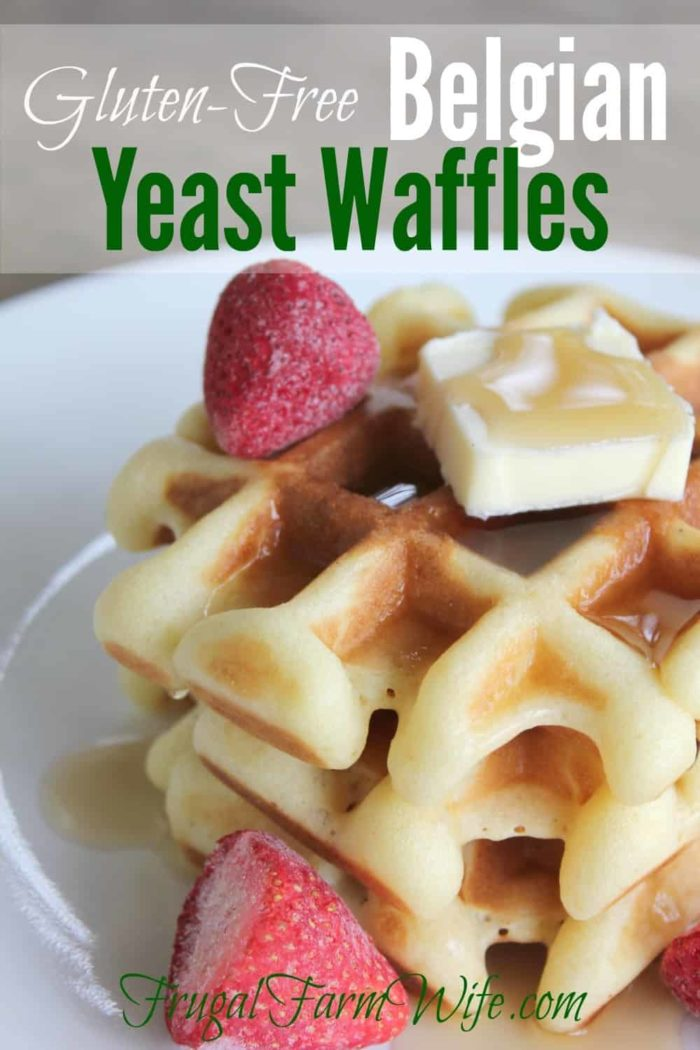 These gluten-free Belgian waffles are amazing! I will never make baking powder waffles again - seriously! I can whip up the batter, go take a shower while they rise, and come back to cook them!