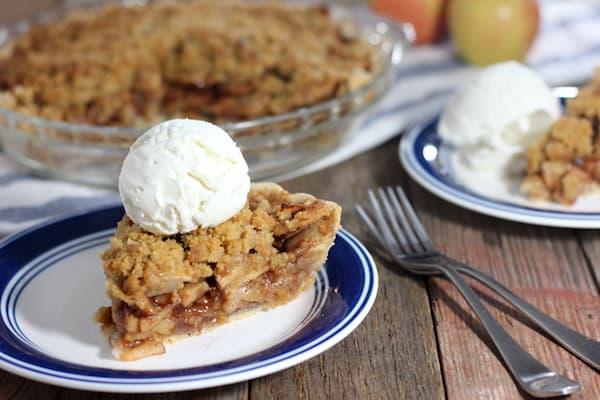 gluten free dutch apple pie served with ice cream