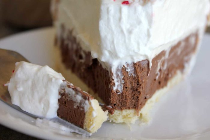 Easy Peppermint French Silk pie