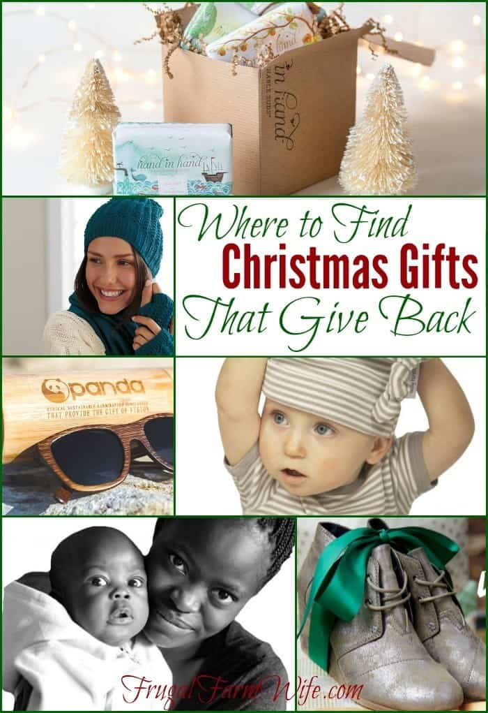 Where to find Christmas Gifts that give back. This is  such a great list!