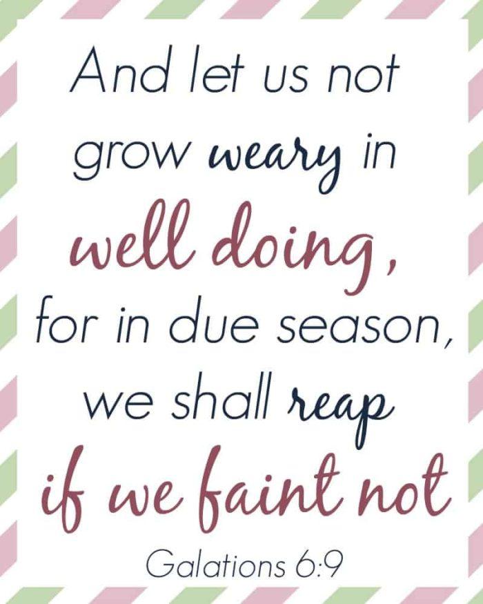 mom's memory verse Galatians 6:9