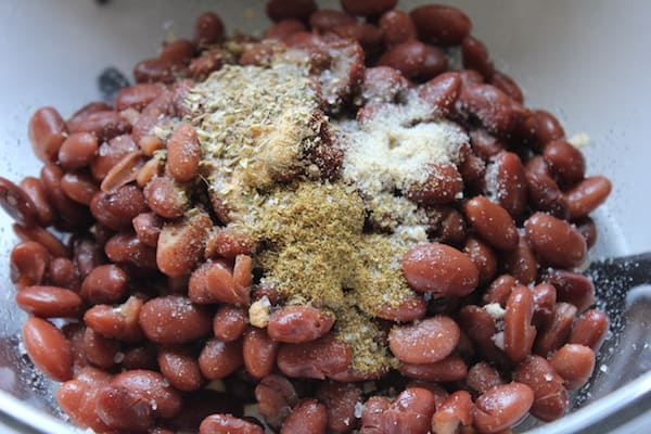 Super Easy Refried Beans: the beans and spices.
