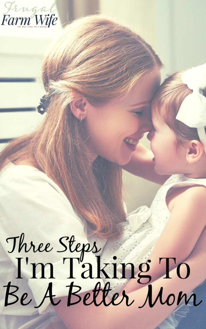 This blogger is working on how to be a better mom - and so am I! The three steps she's taking are definitely things I could be doing too!