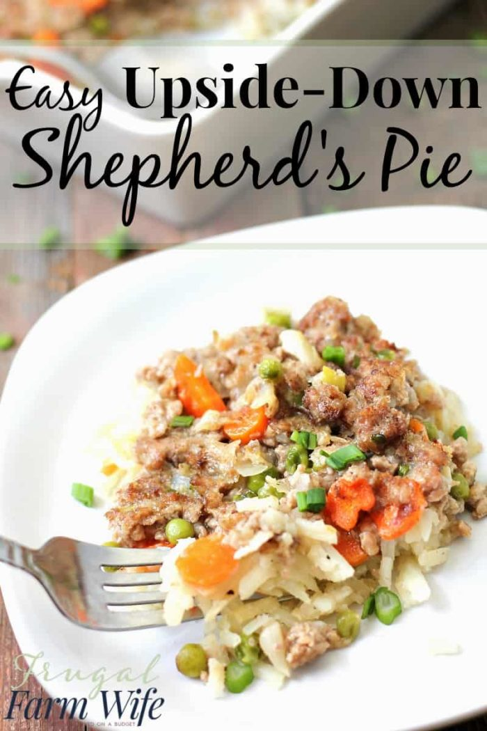 This recipe makes dinner SO easy!Upside-Down Shepherd's Pie for the win!