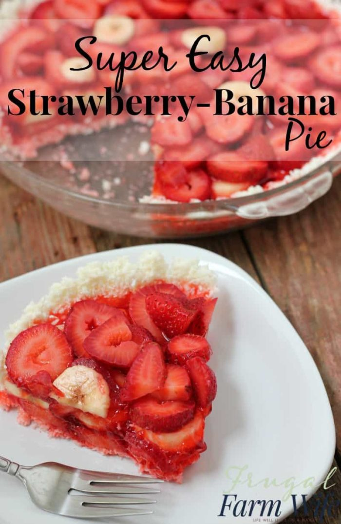 This no-bake easy strawberry banana pie is so simple it's hard to believe. Such a yummy cold summer treat!
