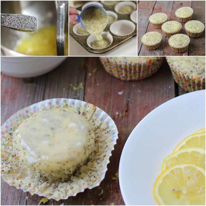 gluten-free poppyseed muffins collage