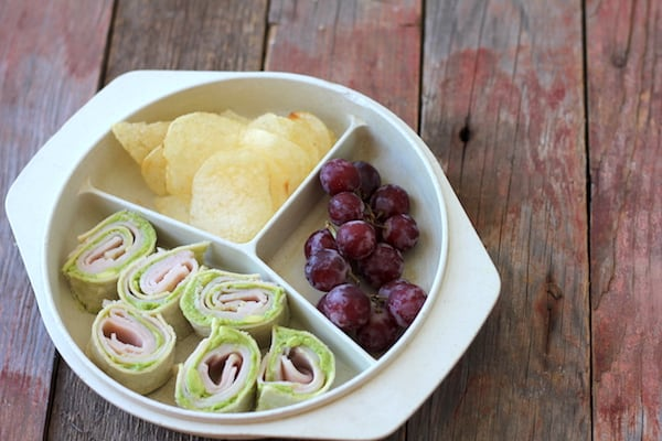 tortilla pinwheel lunch plate