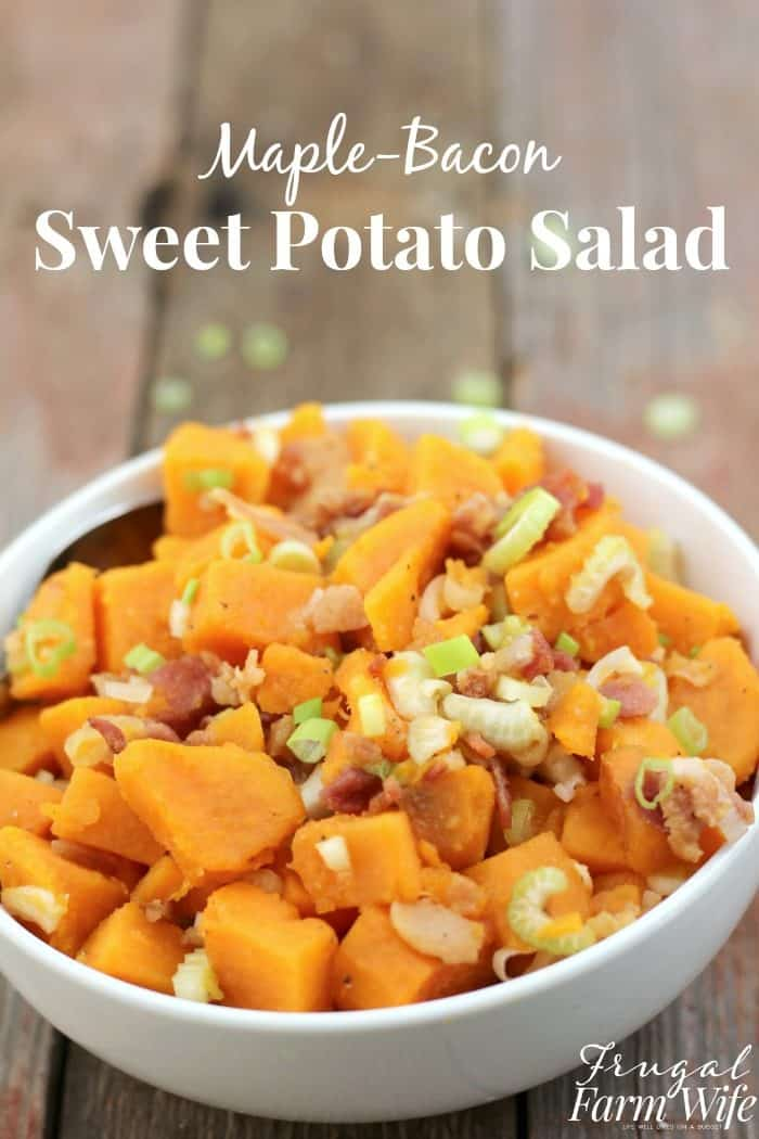 This Maple Bacon Sweet Potato Salad combines maple syrup and bacon with sweet potatoes for fun and delicious twist on America's favorite summer barbecue side dish!