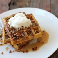 Paleo Pumpkin Spice Waffles With Butter Pecan Syrup
