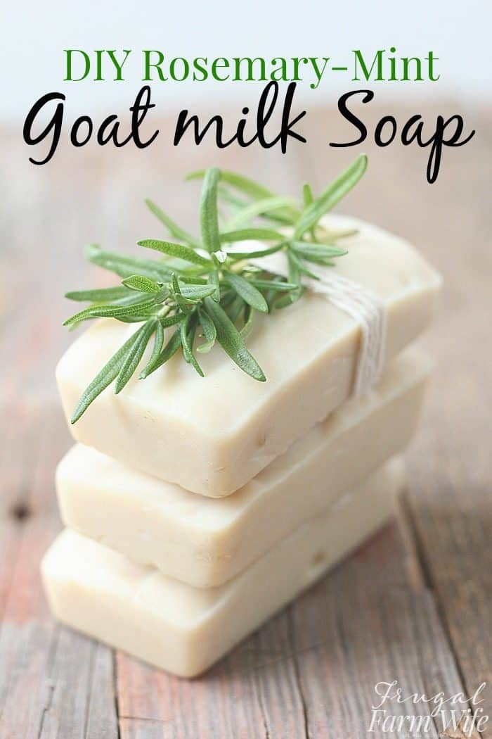 This homemade rosemary-mint goat milk soap is so creamy, and makes your skin so soft!
