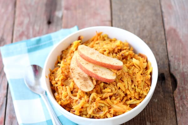 sweet potato hash browns with cinnamon and apple