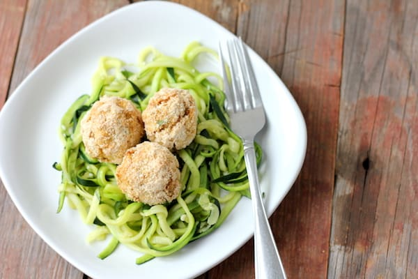 clean eating tuna balls with garlic zoodles