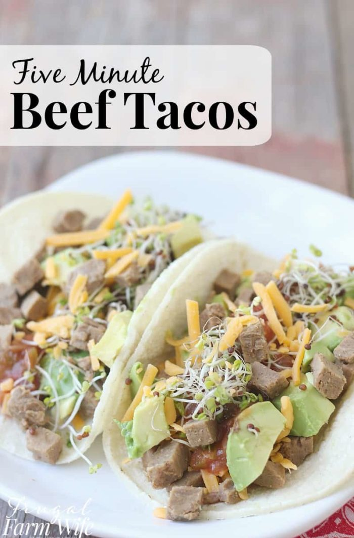 these five minute beef tacos are perfect for those nights when you're too busy to cook, but still want to be thrifty!