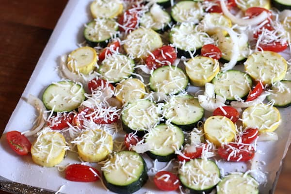 summer veggies with garlic and parmesan
