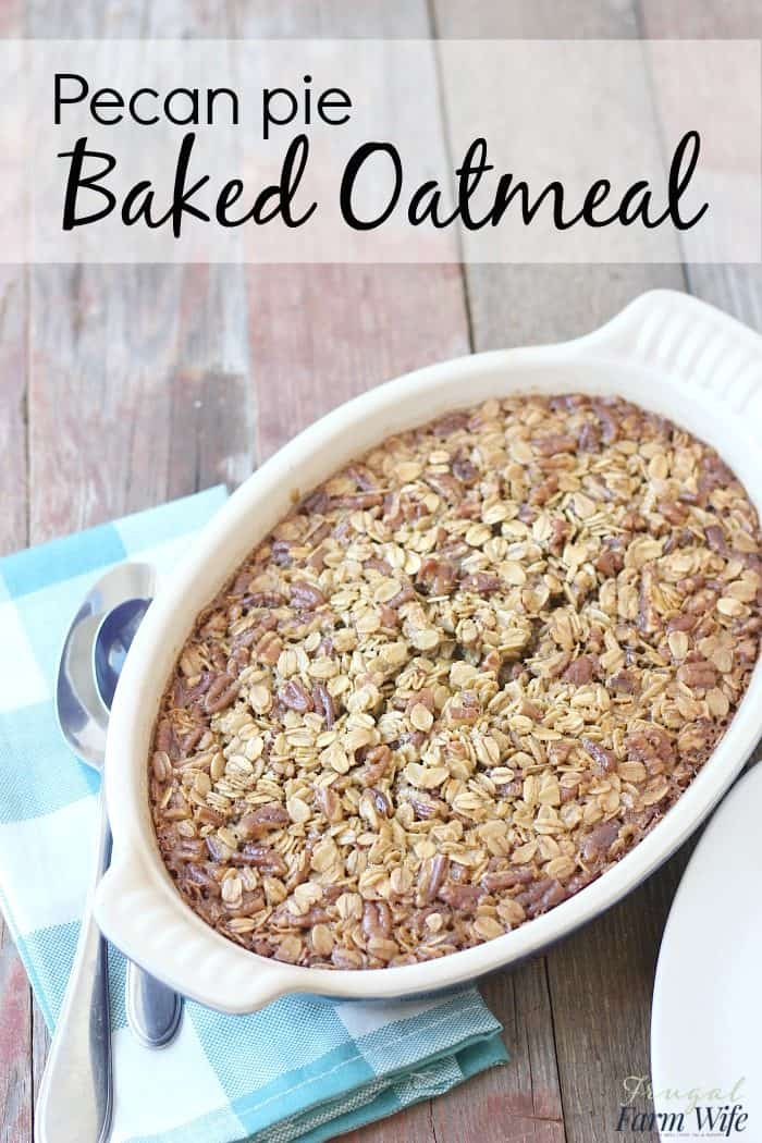 This pecan pie baked oatmeal is the perfect way to celebrate fall at breakfast!