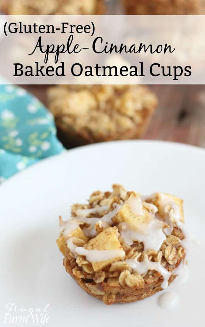 These gluten-free apple-cinnamon baked oatmeal cups are a warm breakfast your kids will love all winter long!