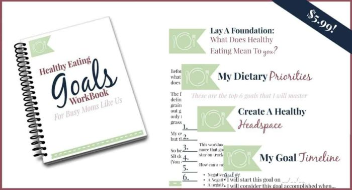 healthy eating goals workbook bullet points