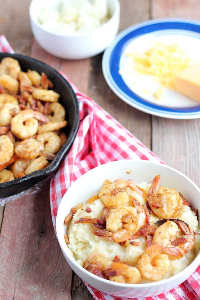 Low carb shrimp and grits are exactly what you need! Lots of flavor, and plenty of protein none of the heavy carbs.