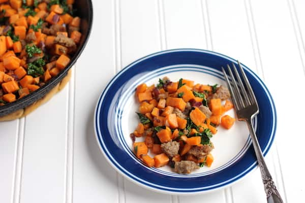 one-pan sweet potato hash on a plate