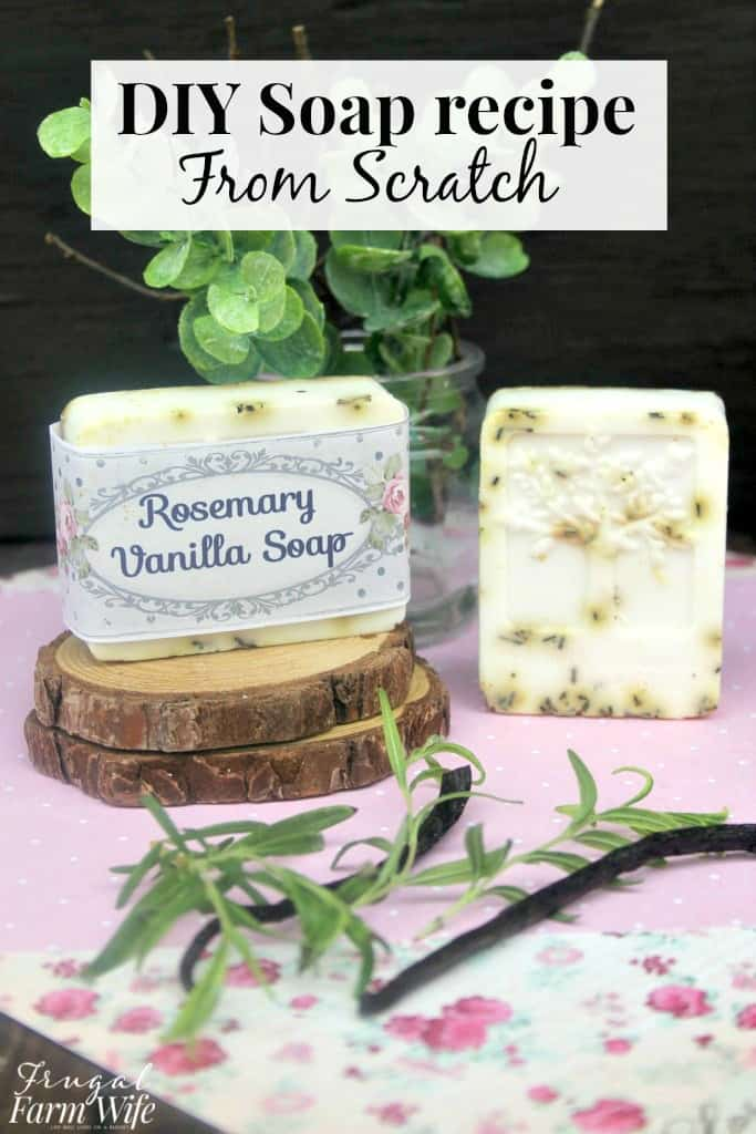 This homemade rosemary vanilla soap recipe smells amazing!