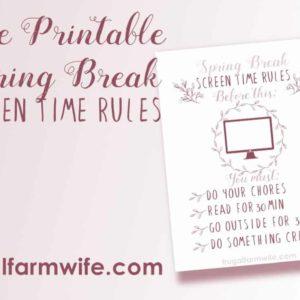 Spring Break Screen Time Rules {Free Printable}