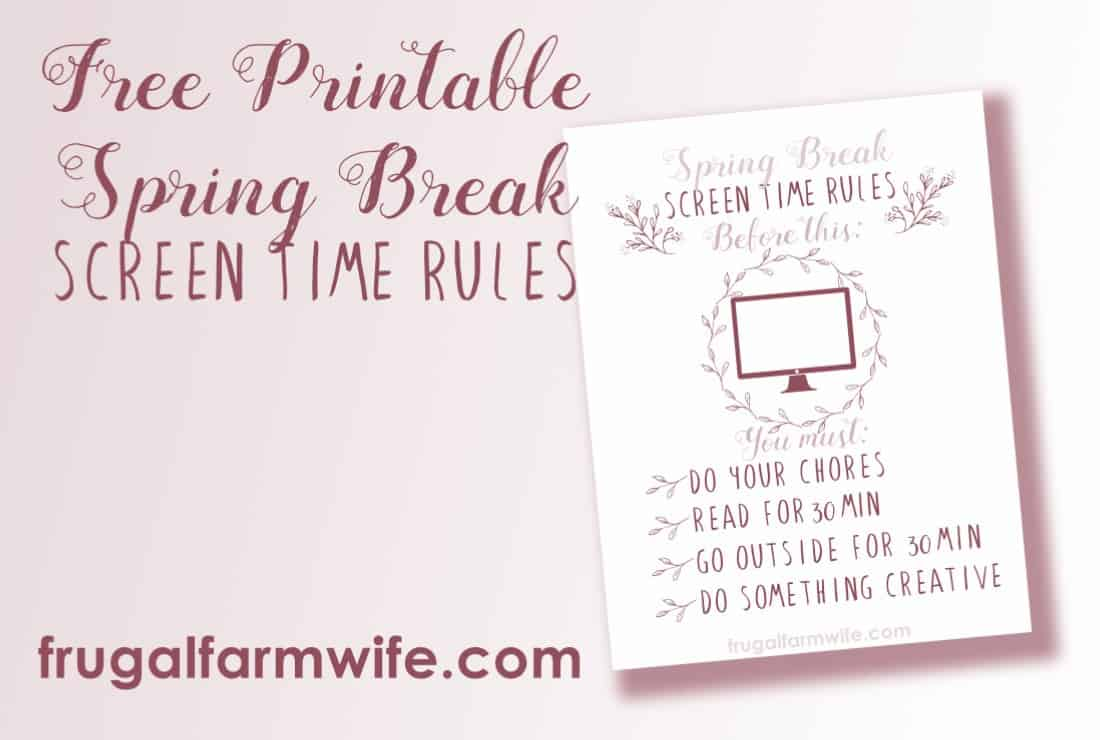 graphic about Screen Time Rules Printable named Display Period Recommendations Totally free Printable The Frugal Farm Spouse