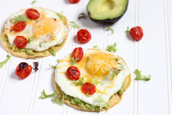 breakfast tostadas with egg and avocado