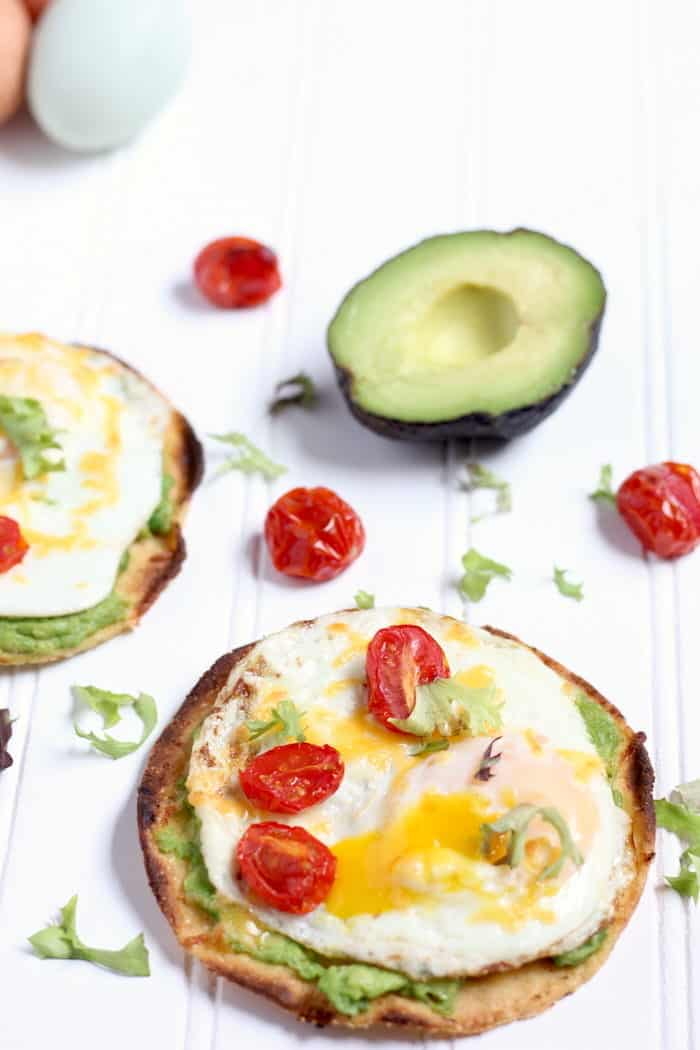 simple breakfast tostadas with avocado