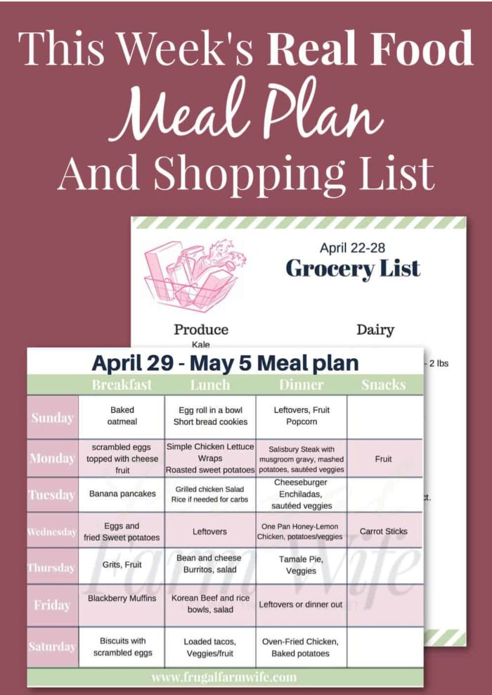 This week's real food meal plan