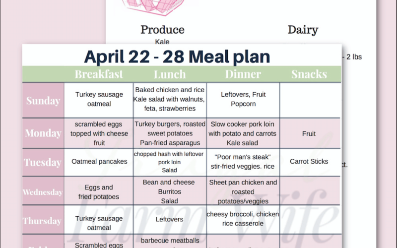 {{Printable}} April 22-28 Real Food Meal Plan + Shopping List
