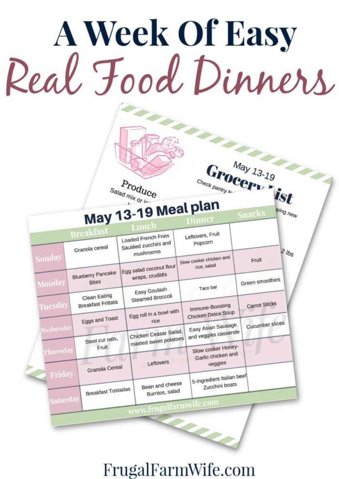 A whole week of easy real food dinners. This meal plan and shopping list set do all the thinking for you!