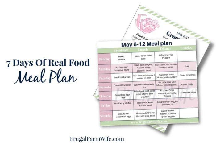 7 days of real food meal plan