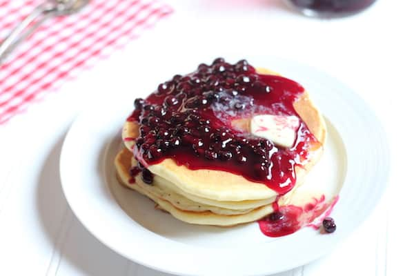blueberry syrup on homemade pancakes
