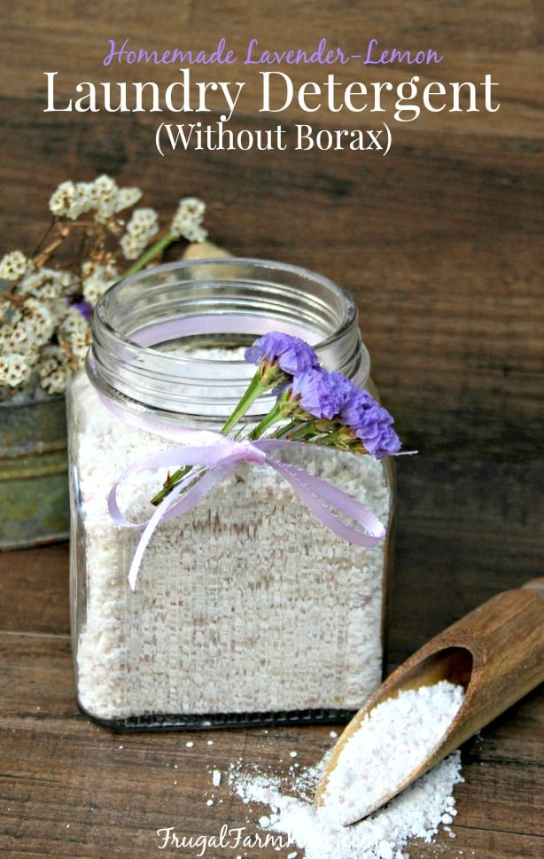 I'm so thrilled with this recipe! Look how easy it is! Homemade lavender-lemon laundry detergent without borax.