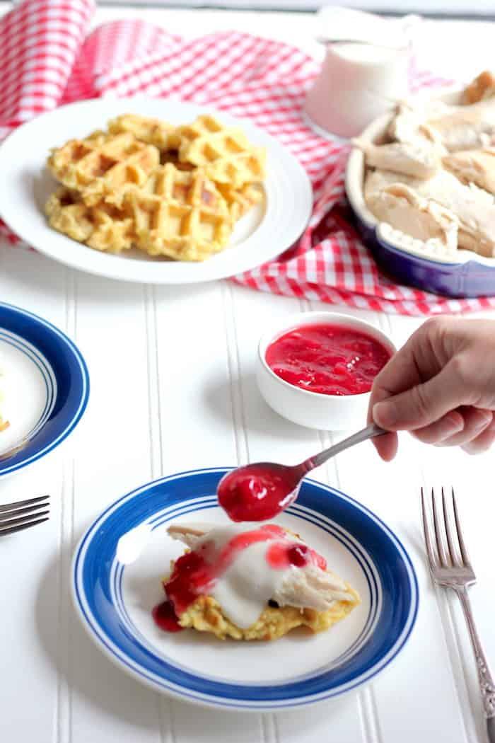 Thanksgiving leftover waffles for brunch
