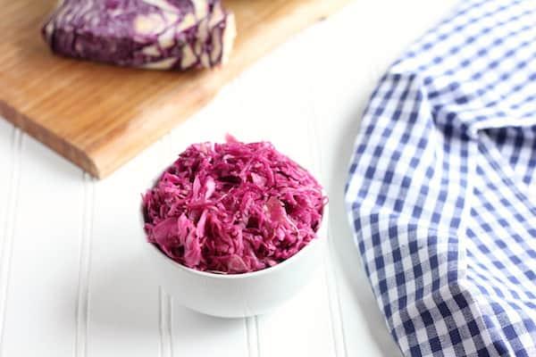 homemade sauerkraut with purple cabbage