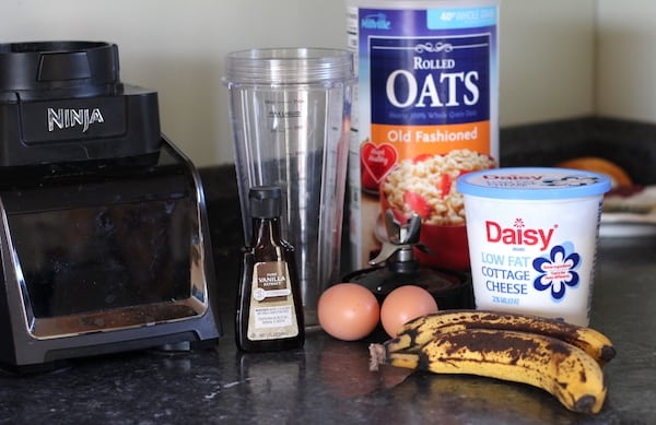 ingredients for banana pancakes with oatmeal and cottage cheese
