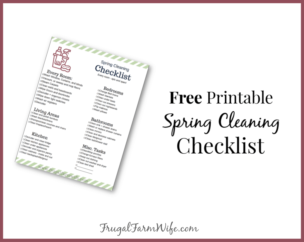 photo relating to Spring Cleaning Checklist Printable called Spring Cleansing List The Frugal Farm Spouse