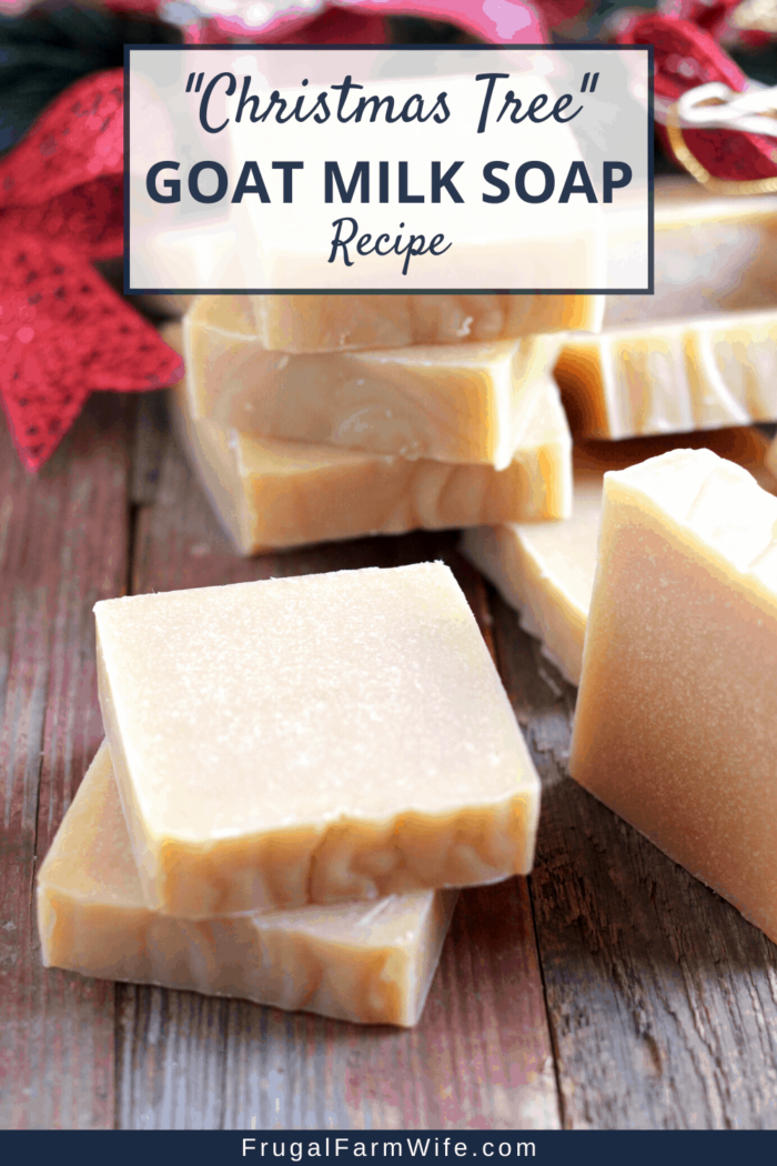 These easy to make goat milk soap smells just like a fresh christmas tree with cinnamon!