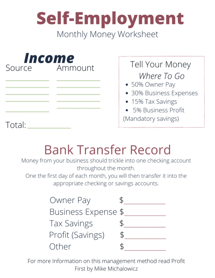 a worksheet to budget your money from self-employment