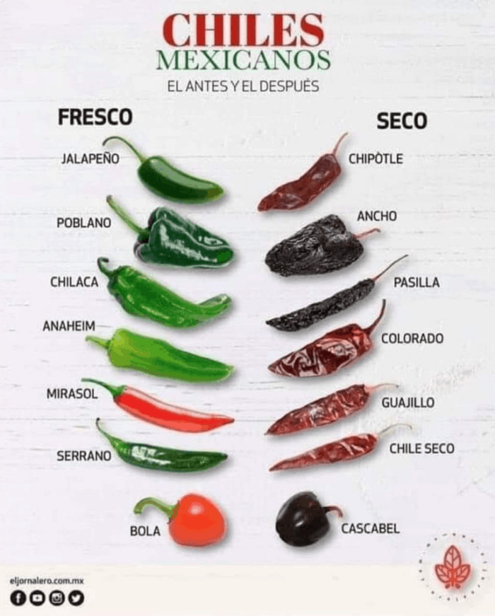 types of peppers fresh versus dried