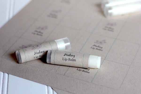 easy three ingredient lip balm recipe with printable labels